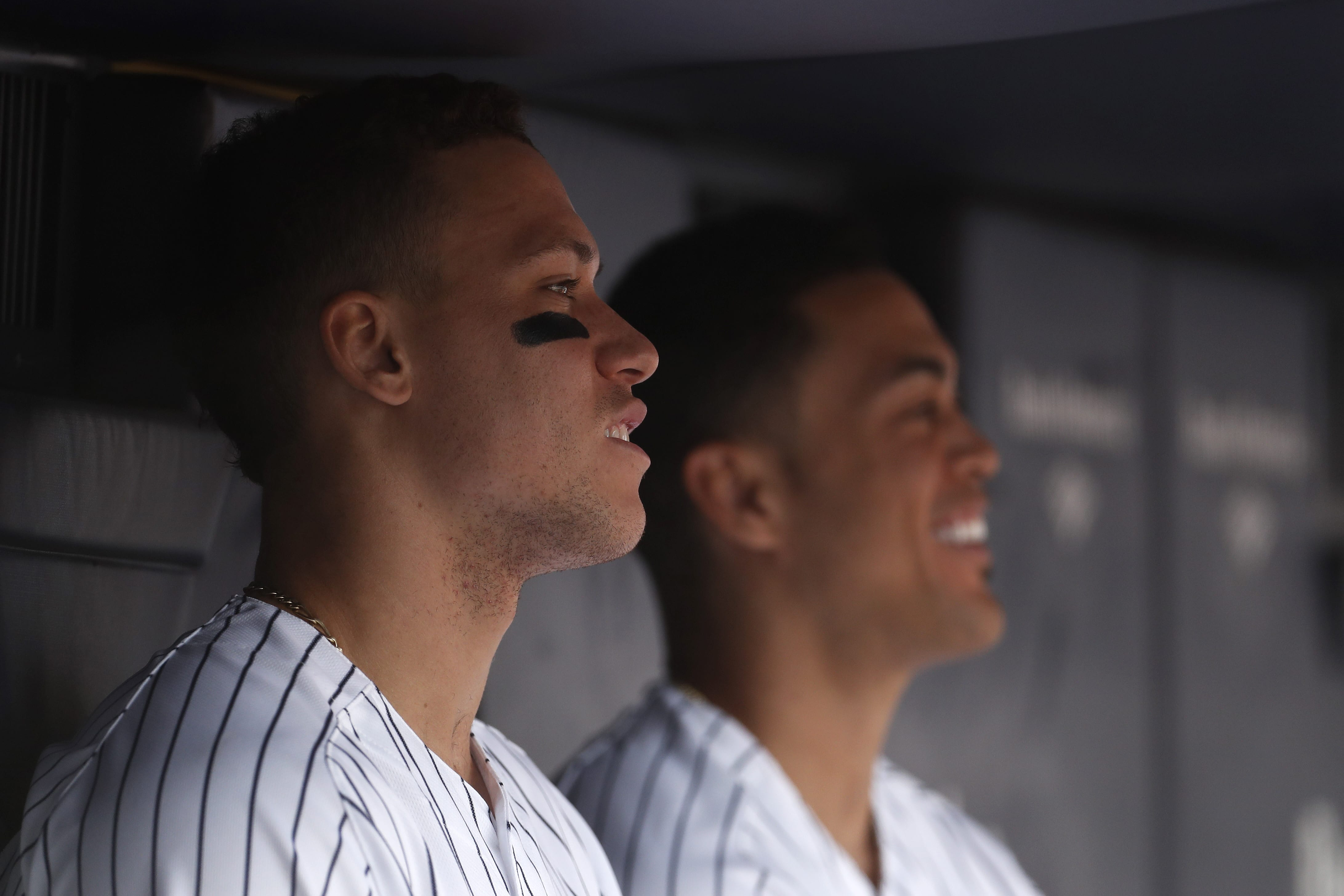 New York Yankees' Aaron Judge and Giancarlo Stanton.