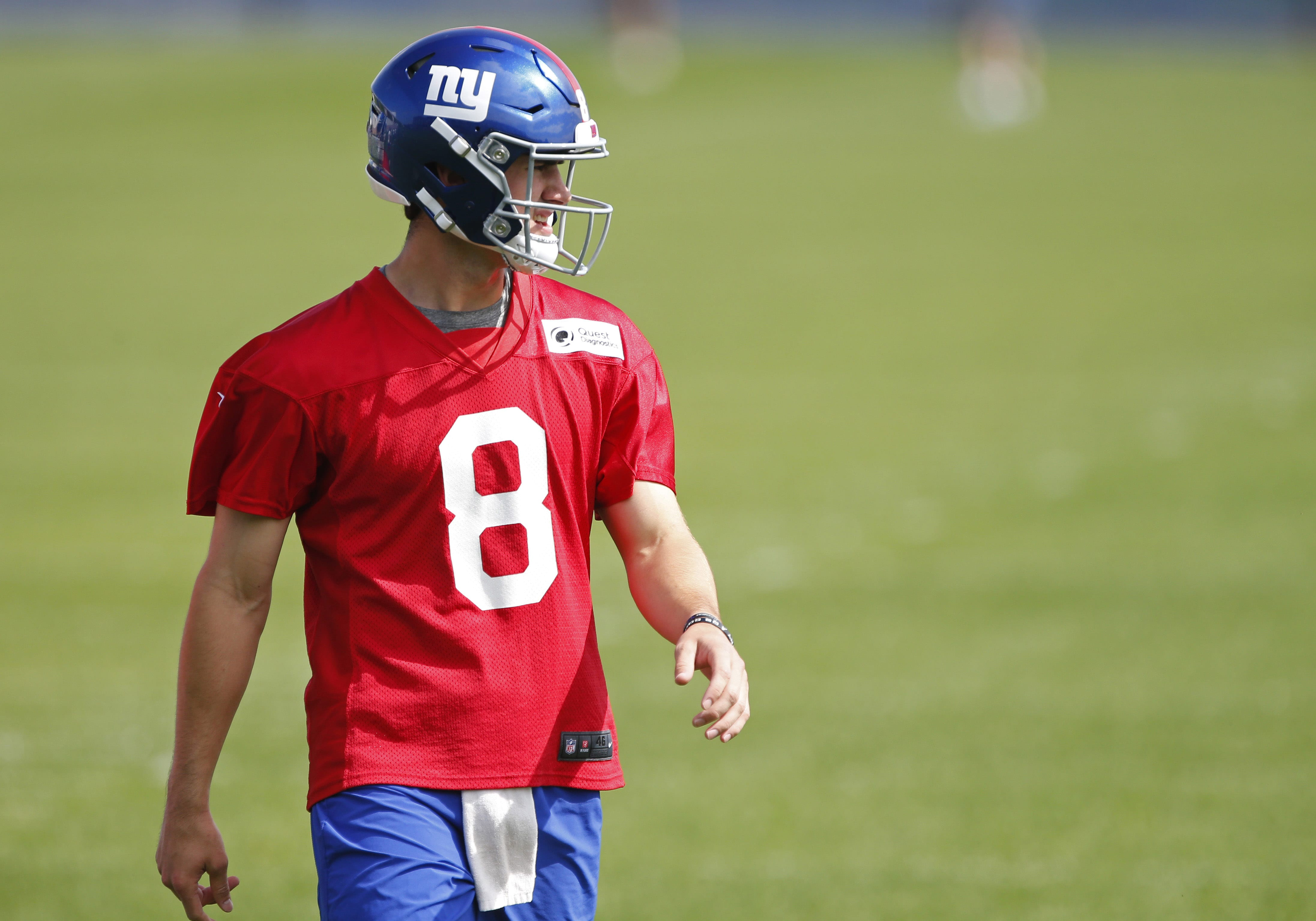 New York Giants rookie quarterback, Daniel Jones during voluntary OTAs.