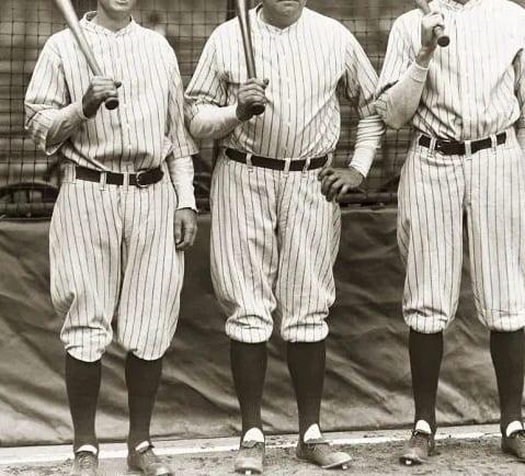 historic photograph of three baseball players