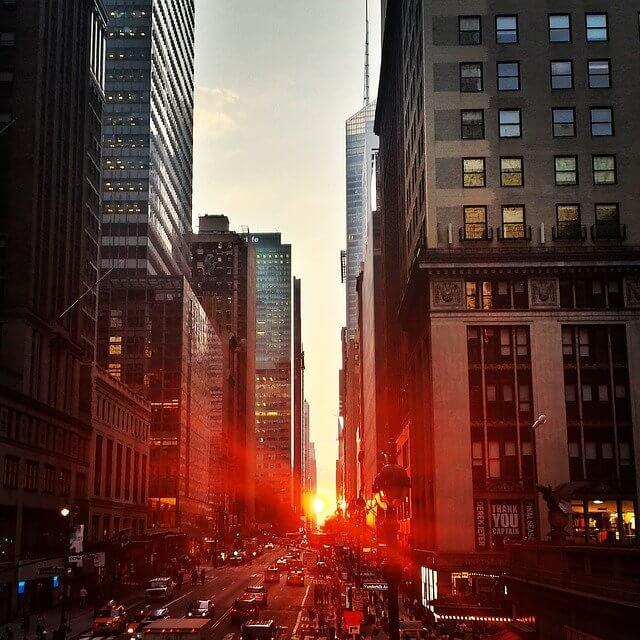 beautiful sunset in new york city