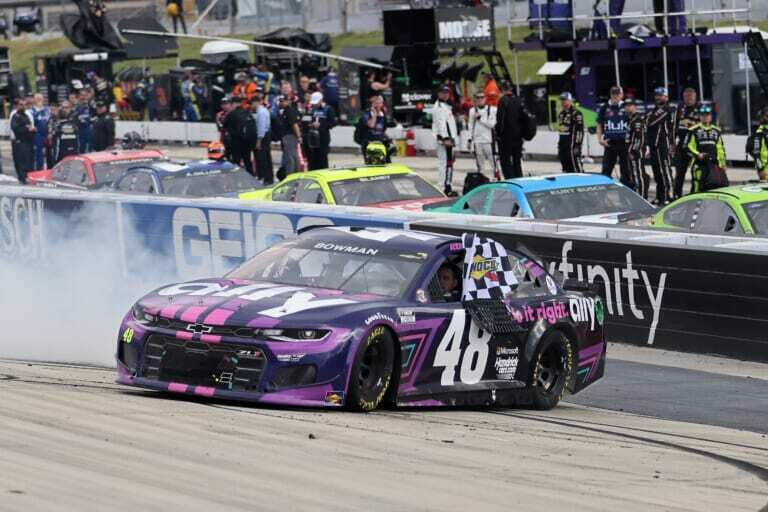 NASCAR Cup Series: Larson blows tire on final lap, Bowman steals victory at Pocono